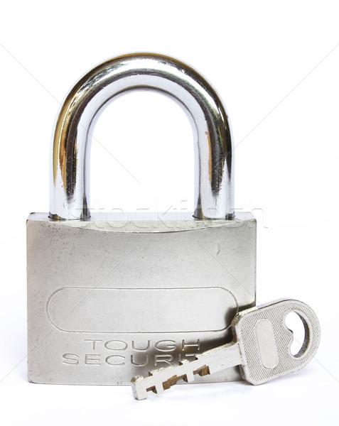 Cadeado usado fundo chave aço seguro Foto stock © rudall30