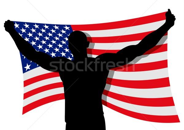 USA banderą człowiek rysunku sztuki Zdjęcia stock © rudall30