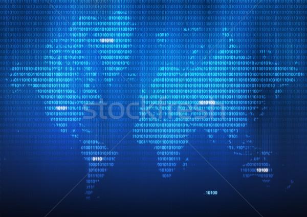 Digitális világ világtérkép illusztráció bináris számok Stock fotó © rudall30