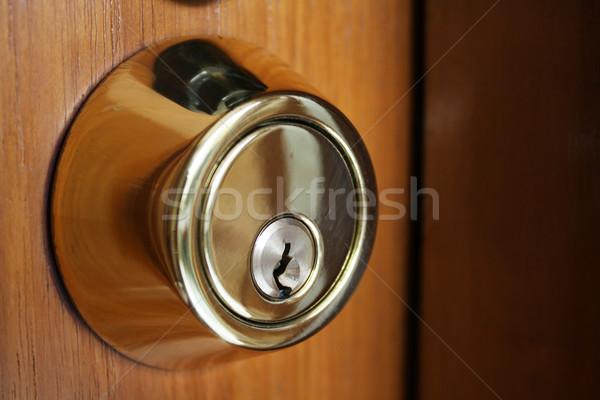 Chave buraco antiquado casa segurança aço Foto stock © rudall30