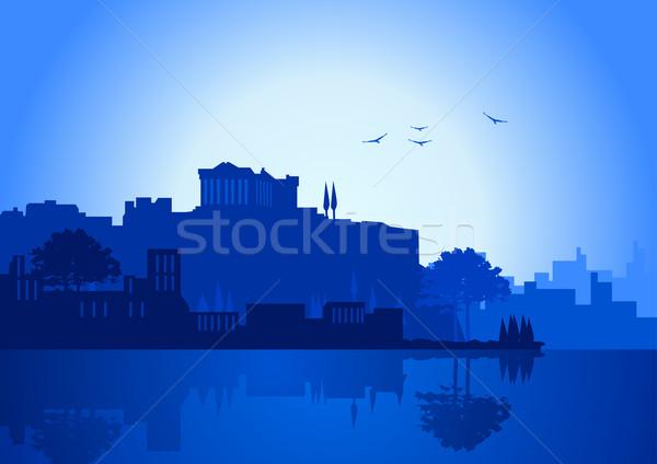 Atenas ilustração linha do horizonte azul cor negócio Foto stock © rudall30