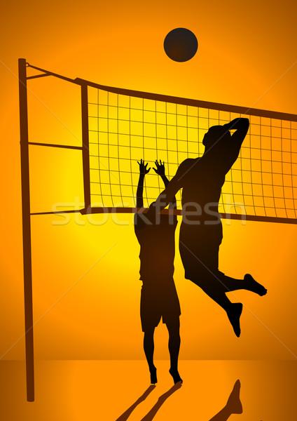 Vôlei bola silhueta ilustração pessoas jogar Foto stock © rudall30