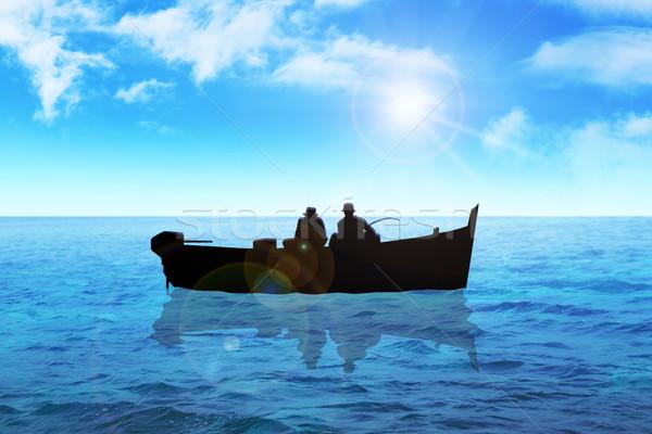 Pescaria estoque imagem dois homens mar céu Foto stock © rudall30