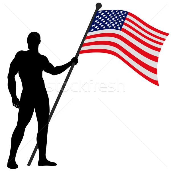 Bandeira homem descobrir EUA assinar Foto stock © rudall30