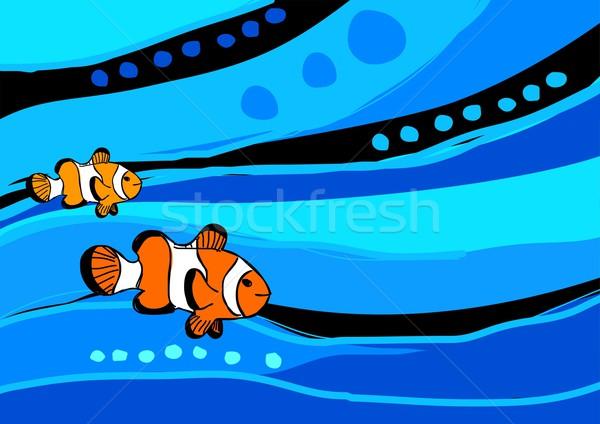 Palhaço peixe estoque ilustração abstrato azul Foto stock © rudall30