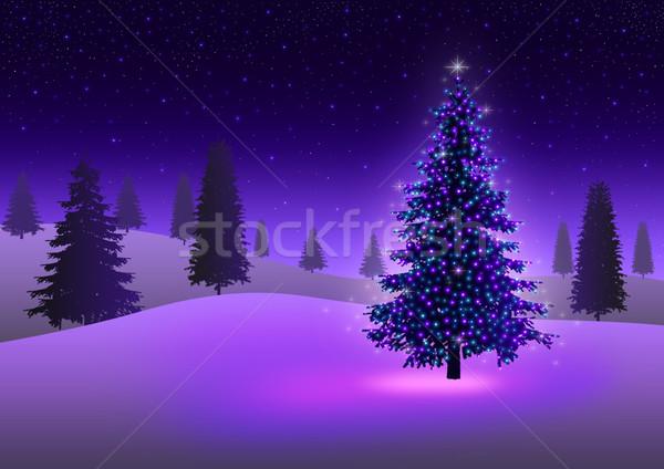árvore de natal estoque imagem pinheiro colorido luzes Foto stock © rudall30