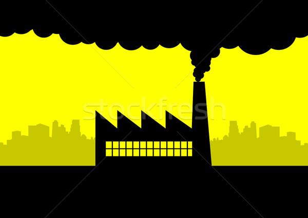 Foto stock: Poluição · icônico · ilustração · fábrica · edifício