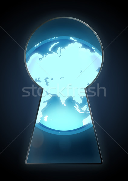Abrir mundo ilustração globo chave buraco Foto stock © rudall30