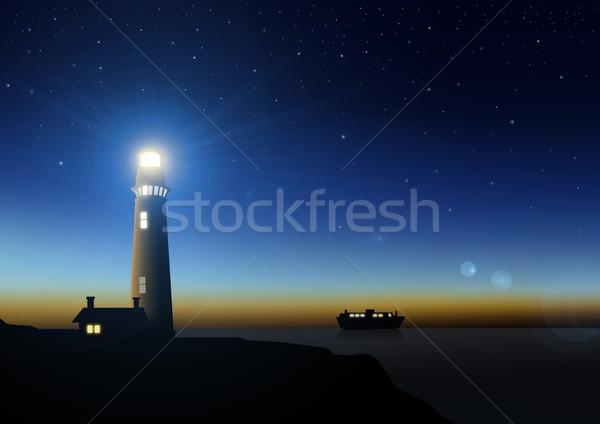 Vuurtoren voorraad afbeelding zonsondergang zee nacht Stockfoto © rudall30