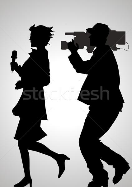 Noticias silueta ilustración reportero negocios Foto stock © rudall30