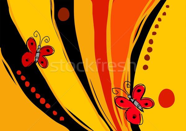 Kelebekler saf sanat örnek iki kırmızı Stok fotoğraf © rudall30
