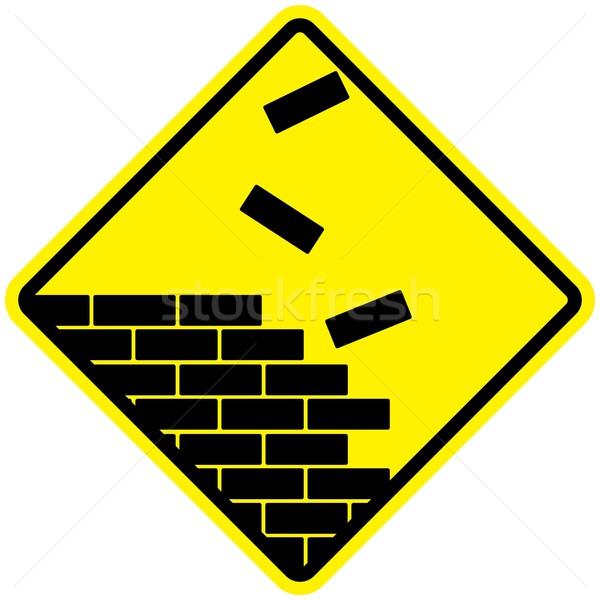 Construção símbolo parede preto construir amarelo Foto stock © rudall30
