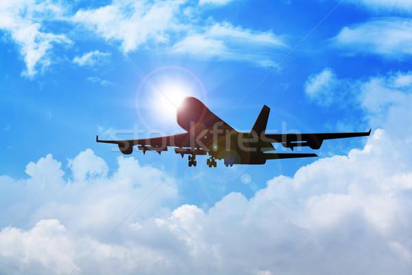 Avião voador blue sky azul avião férias Foto stock © rudall30