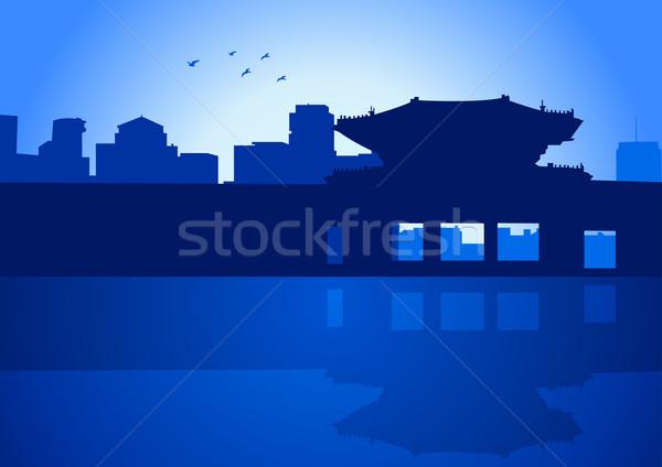 Seul ilustração linha do horizonte real palácio edifício Foto stock © rudall30