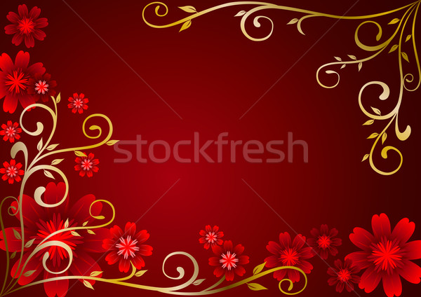 Maroon Flowers Ornament Stock photo © rudall30