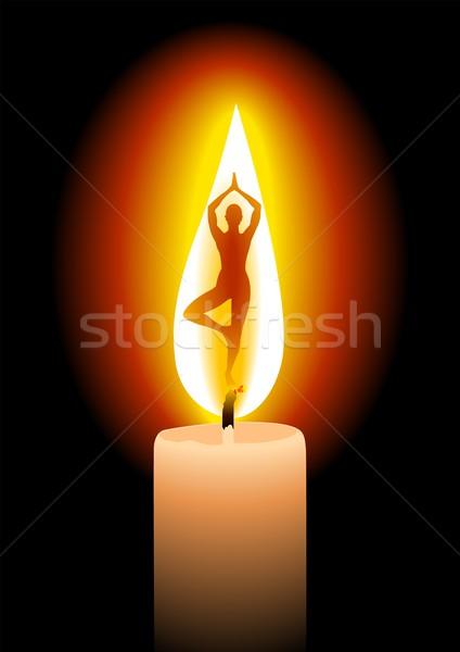 Spokój sylwetka kobieta Świeca świetle projektu Zdjęcia stock © rudall30