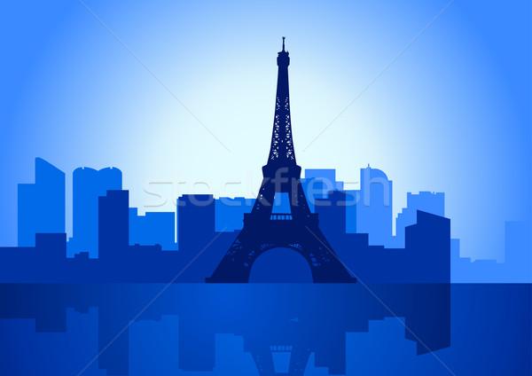 Paris ilustração linha do horizonte Torre Eiffel edifício azul Foto stock © rudall30