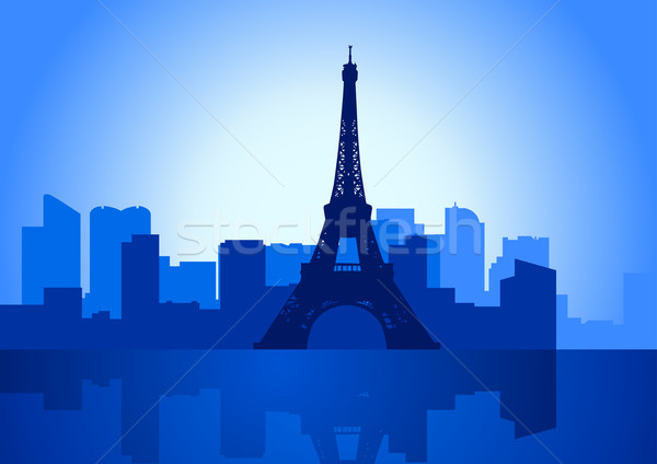 París ilustración horizonte Eiffel Tower edificio azul Foto stock © rudall30