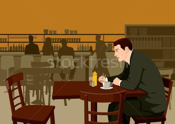 Espera café estoque ilustração homem reunião Foto stock © rudall30