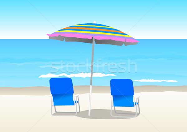 Praia ilustração dois cadeiras céu água Foto stock © rudall30