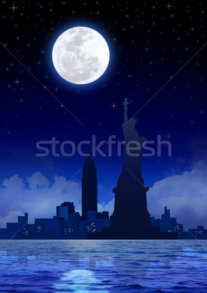 Nova Iorque noite estoque imagem New York City céu Foto stock © rudall30