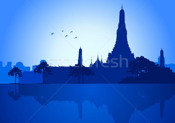 Bangkok silhueta ilustração templo negócio edifício Foto stock © rudall30