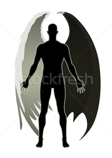 ángel diablo stock vector negro blanco Foto stock © rudall30