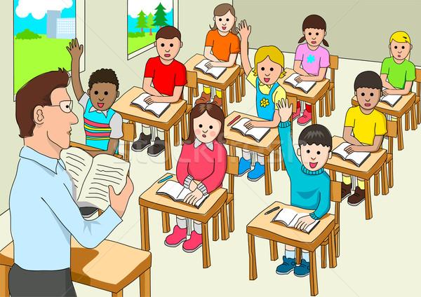 Sala de aula estoque vetor mão feliz crianças Foto stock © rudall30