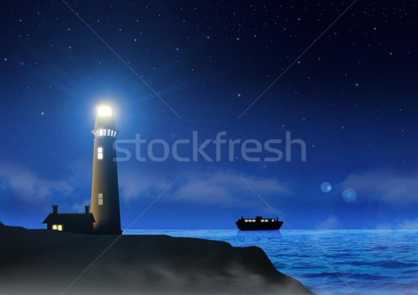Farol estoque imagem segurança barco navio Foto stock © rudall30