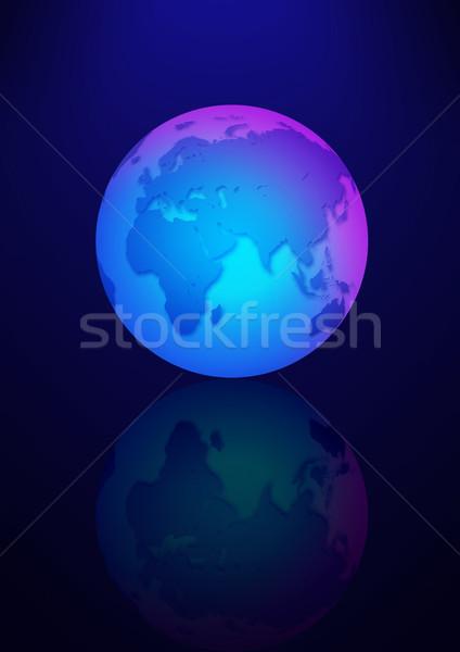 Azul terra ilustração escuro globo mapa Foto stock © rudall30