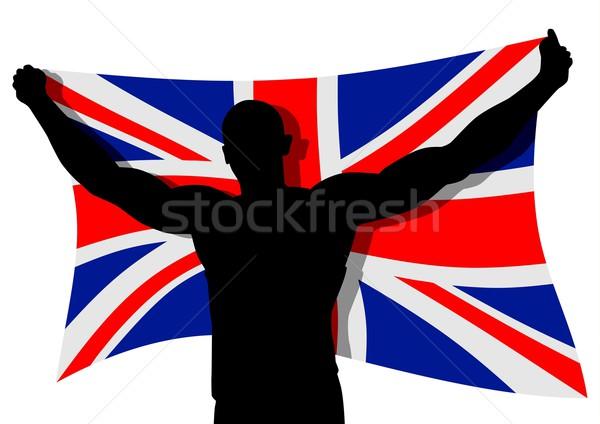 Reino Unido bandeira homem descobrir arte Foto stock © rudall30