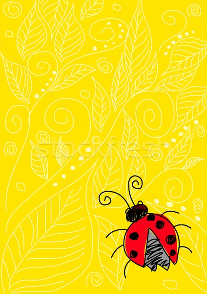 Rovar naív művészet illusztráció citromsárga dísz Stock fotó © rudall30