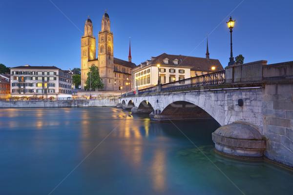 Zürich afbeelding Zwitserland schemering Blauw uur Stockfoto © rudi1976