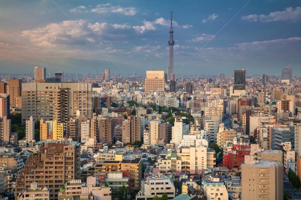 Városkép kép sziluett naplemente város utca Stock fotó © rudi1976