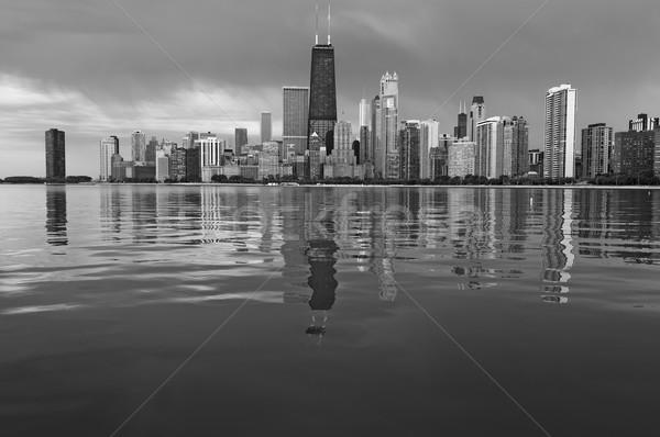 Chicago linha do horizonte preto e branco imagem Illinois Foto stock © rudi1976