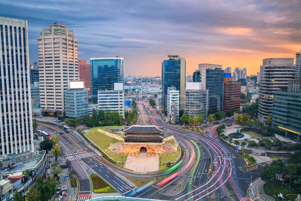 Seul imagem centro da cidade portão cidade pôr do sol Foto stock © rudi1976