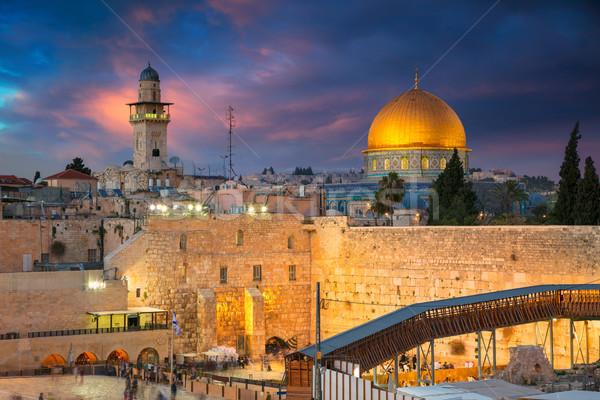 Kudüs Cityscape görüntü İsrail kubbe kaya Stok fotoğraf © rudi1976