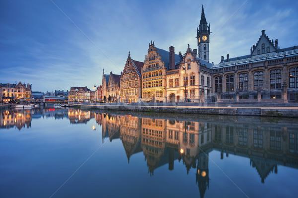 Afbeelding België schemering Blauw uur Stockfoto © rudi1976
