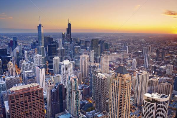 Stok fotoğraf: Chicago · şehir · merkezinde · tan · yüksek · üzerinde