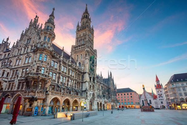 Munich paisaje urbano imagen cuadrados Alemania crepúsculo Foto stock © rudi1976