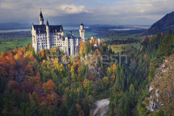 Castelo de Neuschwanstein Alemanha ver outono pôr do sol Foto stock © rudi1976