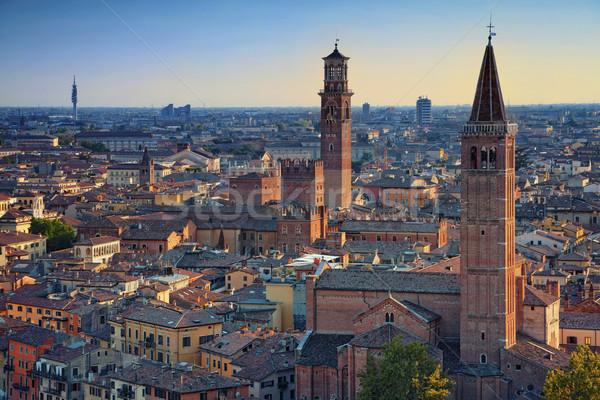 Verona kép Olaszország nyár naplemente város Stock fotó © rudi1976