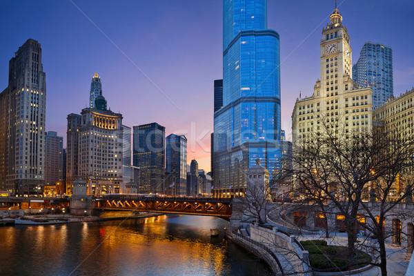 Chicago imagem centro da cidade distrito crepúsculo Foto stock © rudi1976