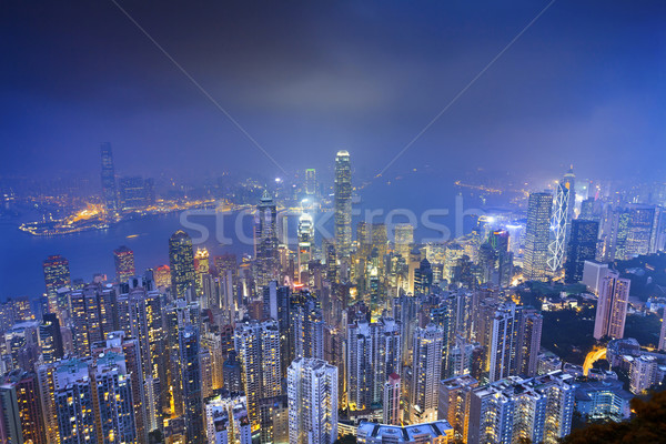 Hongkong kép sok felhőkarcolók szürkület kék Stock fotó © rudi1976