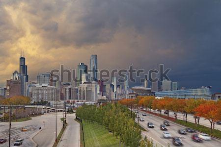 Chicago görüntü şehir merkezinde dramatik gökyüzü sonbahar Stok fotoğraf © rudi1976