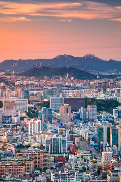 Seul cityscape imagem centro da cidade verão pôr do sol Foto stock © rudi1976