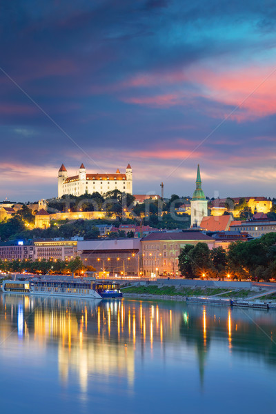 Bratislava cityscape imagem cidade Eslováquia crepúsculo Foto stock © rudi1976
