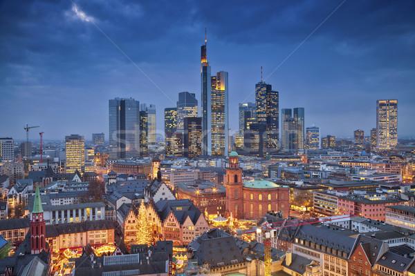 Stockfoto: Frankfurt · hoofd- · afbeelding · skyline · schemering