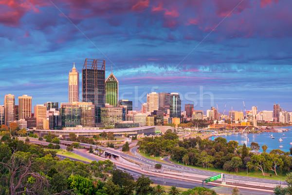 Cityscape imagem linha do horizonte Austrália céu edifício Foto stock © rudi1976