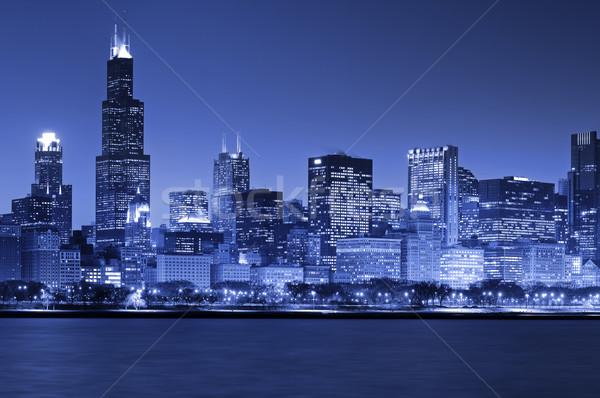 Chicago skyline immagine notte cielo costruzione Foto d'archivio © rudi1976